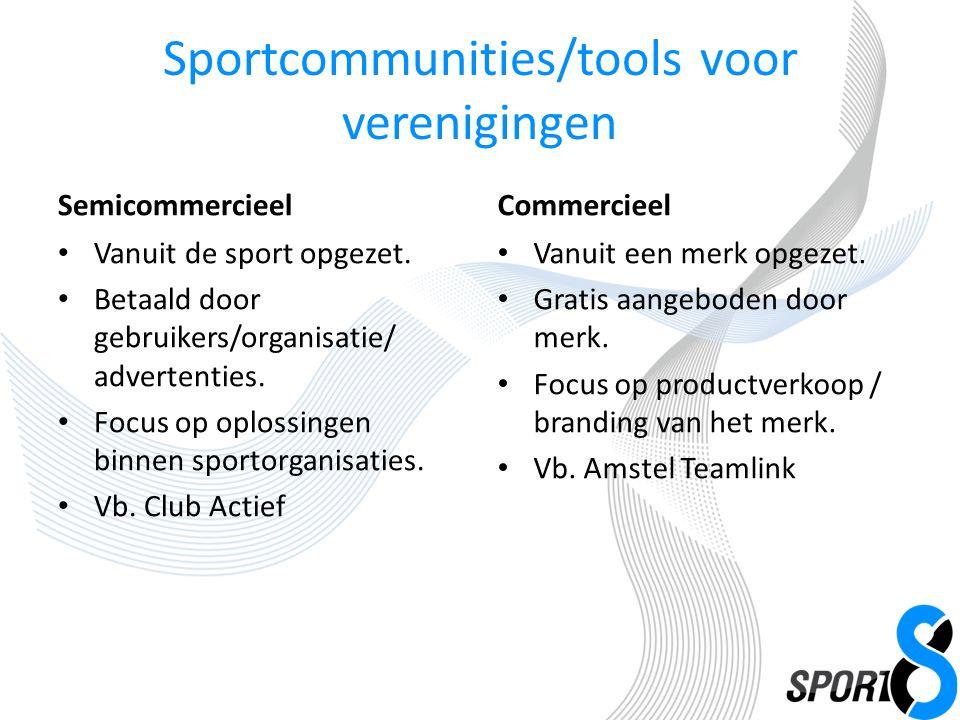 Sportcommunities/tools voor verenigingen Semicommercieel Vanuit de sport opgezet.