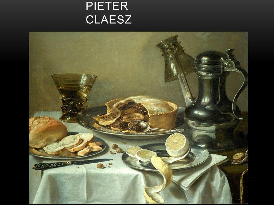 Ontbijtgens: Een stilleven met brood, messen, vis, de dingen die tijdens een maaltijd aan het eind van de ochtend werden gegeten.