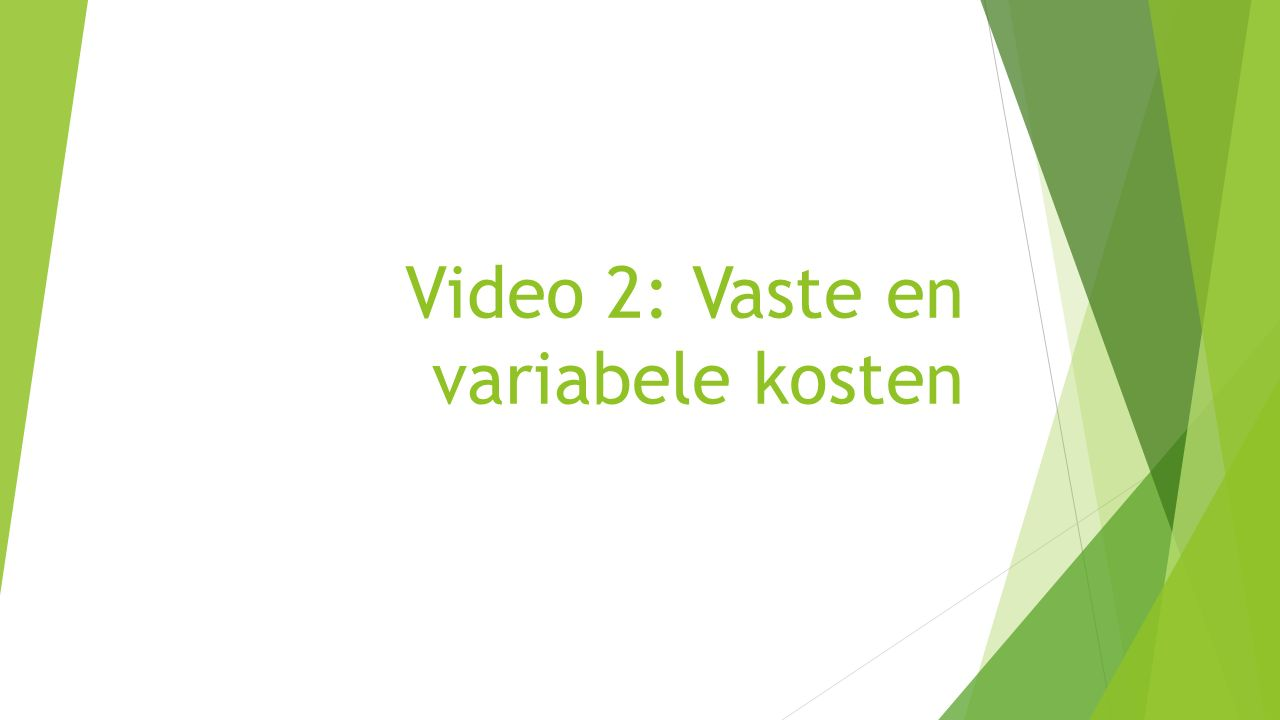 Video 2: Vaste en variabele kosten