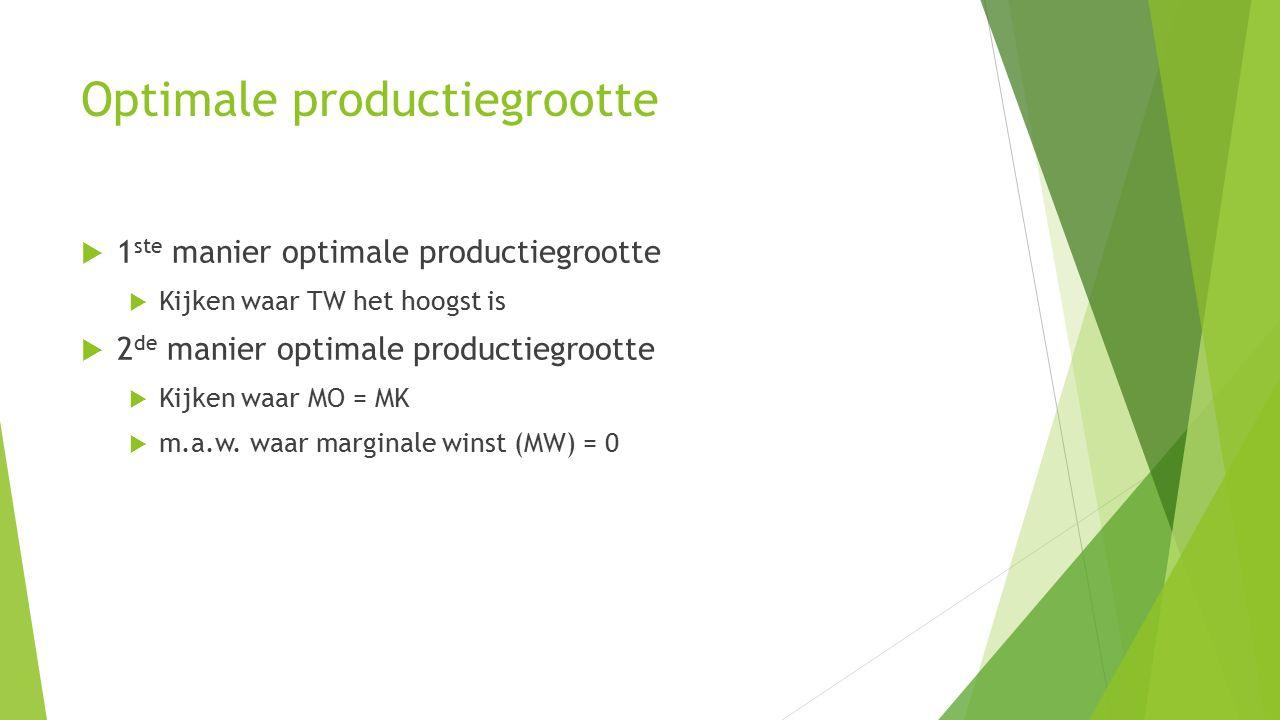 Optimale productiegrootte  1 ste manier optimale productiegrootte  Kijken waar TW het hoogst is  2 de manier optimale productiegrootte  Kijken waa
