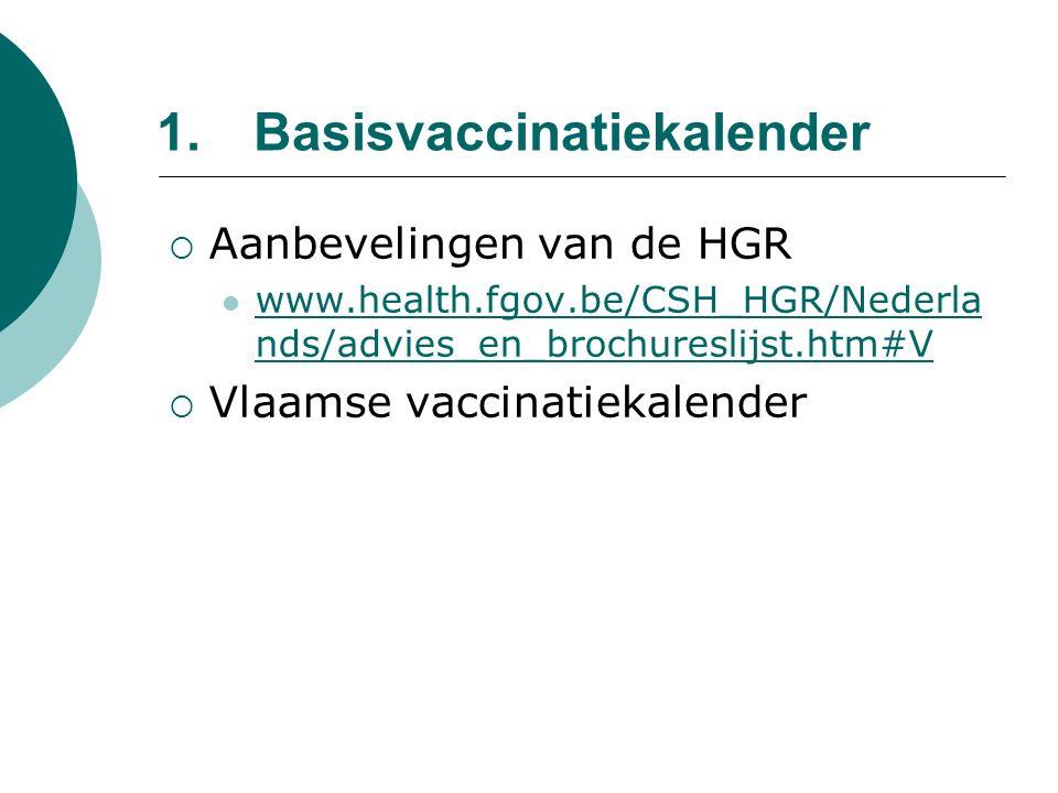 1.Basisvaccinatiekalender  Aanbevelingen van de HGR www.health.fgov.be/CSH_HGR/Nederla nds/advies_en_brochureslijst.htm#V www.health.fgov.be/CSH_HGR/Nederla nds/advies_en_brochureslijst.htm#V  Vlaamse vaccinatiekalender