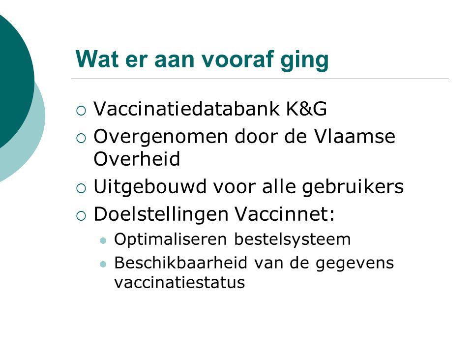 Wat er aan vooraf ging  Vaccinatiedatabank K&G  Overgenomen door de Vlaamse Overheid  Uitgebouwd voor alle gebruikers  Doelstellingen Vaccinnet: Optimaliseren bestelsysteem Beschikbaarheid van de gegevens vaccinatiestatus