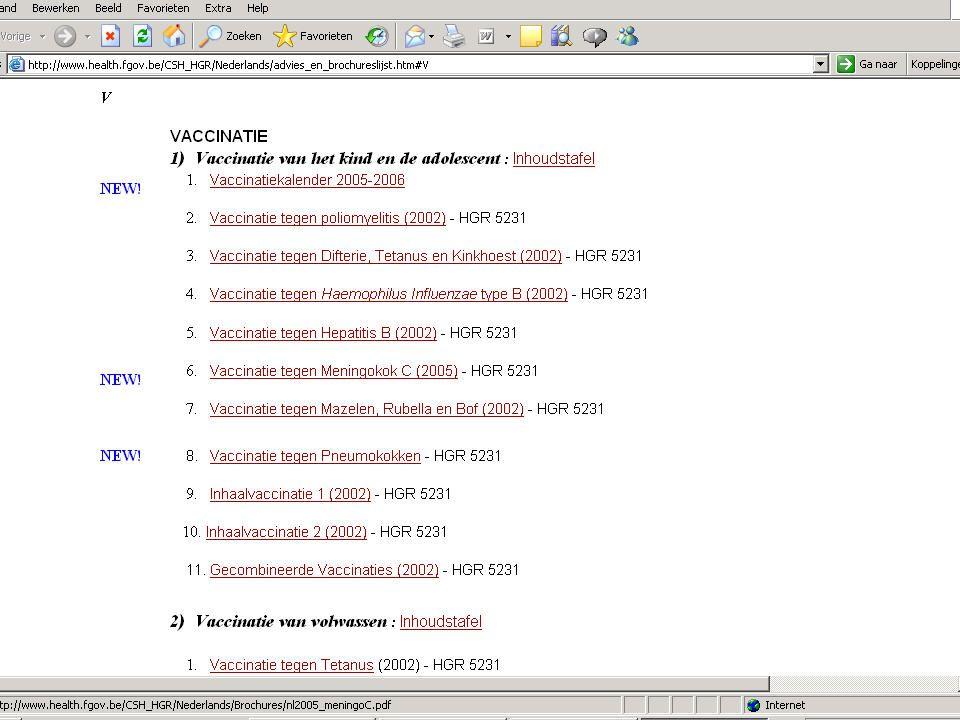 1.De Vlaamse vaccinatiekalender  Aanbevelingen van de HGR