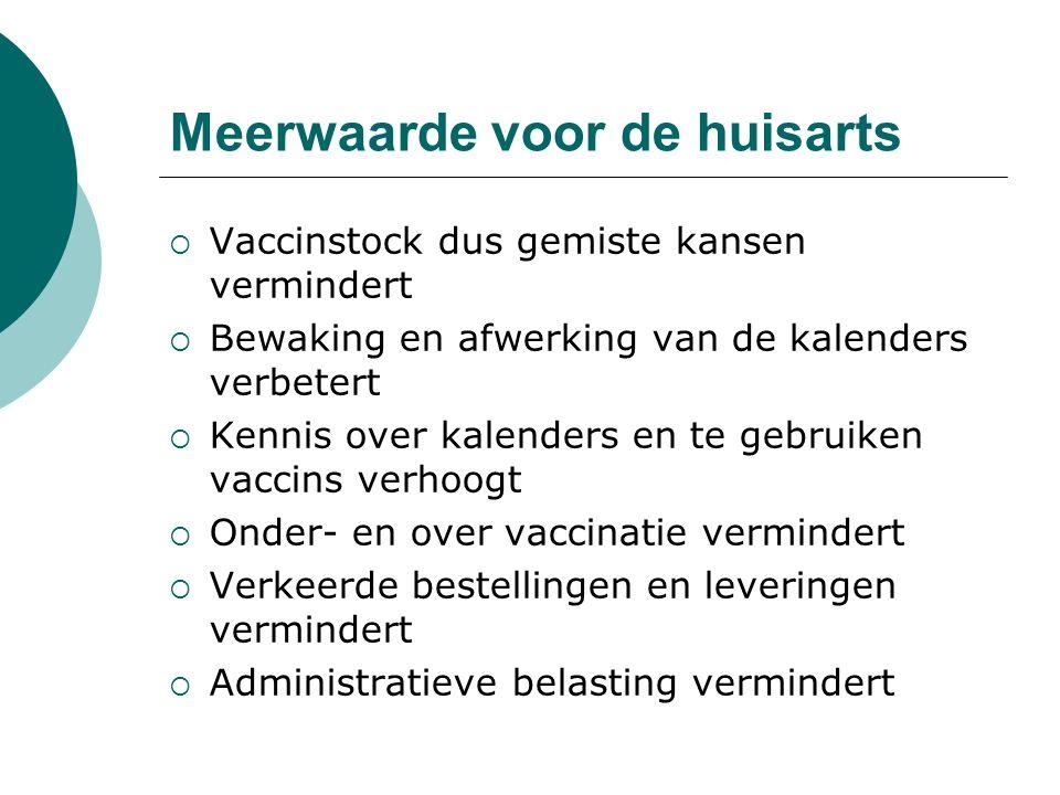 Meerwaarde voor de huisarts  Vaccinstock dus gemiste kansen vermindert  Bewaking en afwerking van de kalenders verbetert  Kennis over kalenders en te gebruiken vaccins verhoogt  Onder- en over vaccinatie vermindert  Verkeerde bestellingen en leveringen vermindert  Administratieve belasting vermindert