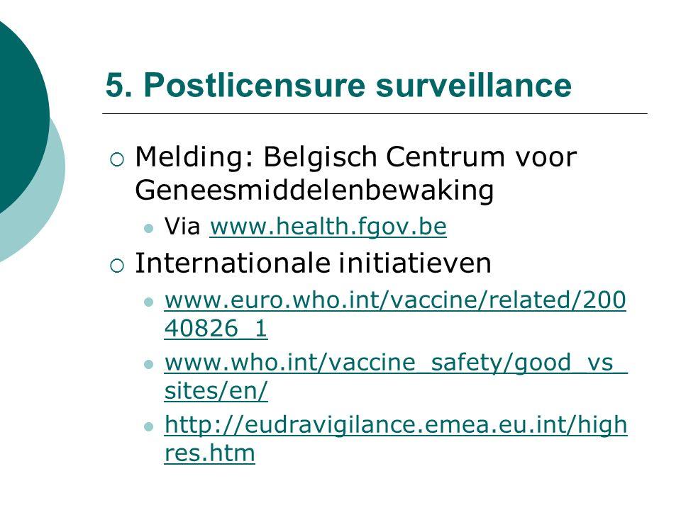 5. Postlicensure surveillance  Melding: Belgisch Centrum voor Geneesmiddelenbewaking Via www.health.fgov.bewww.health.fgov.be  Internationale initia