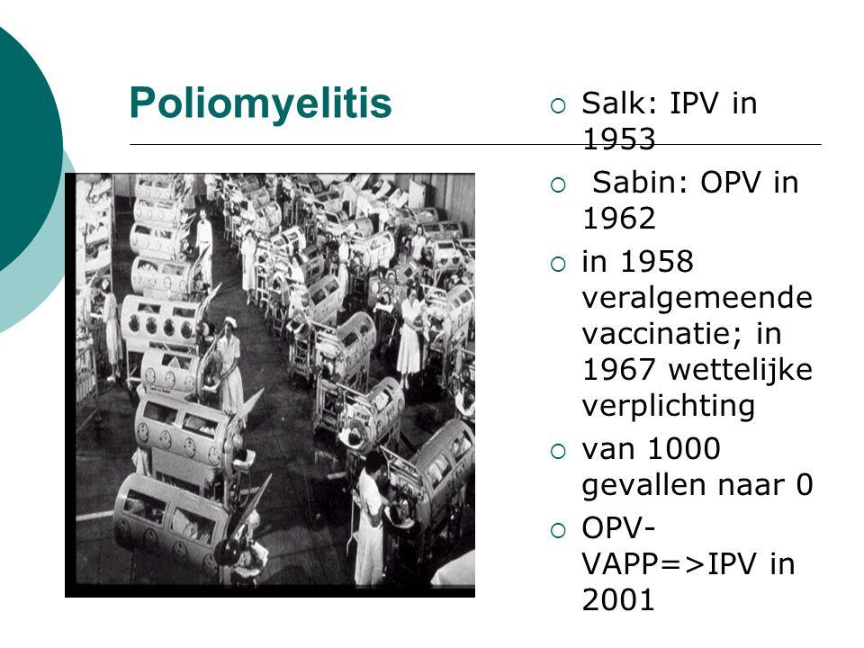 Poliomyelitis  Salk: IPV in 1953  Sabin: OPV in 1962  in 1958 veralgemeende vaccinatie; in 1967 wettelijke verplichting  van 1000 gevallen naar 0  OPV- VAPP=>IPV in 2001