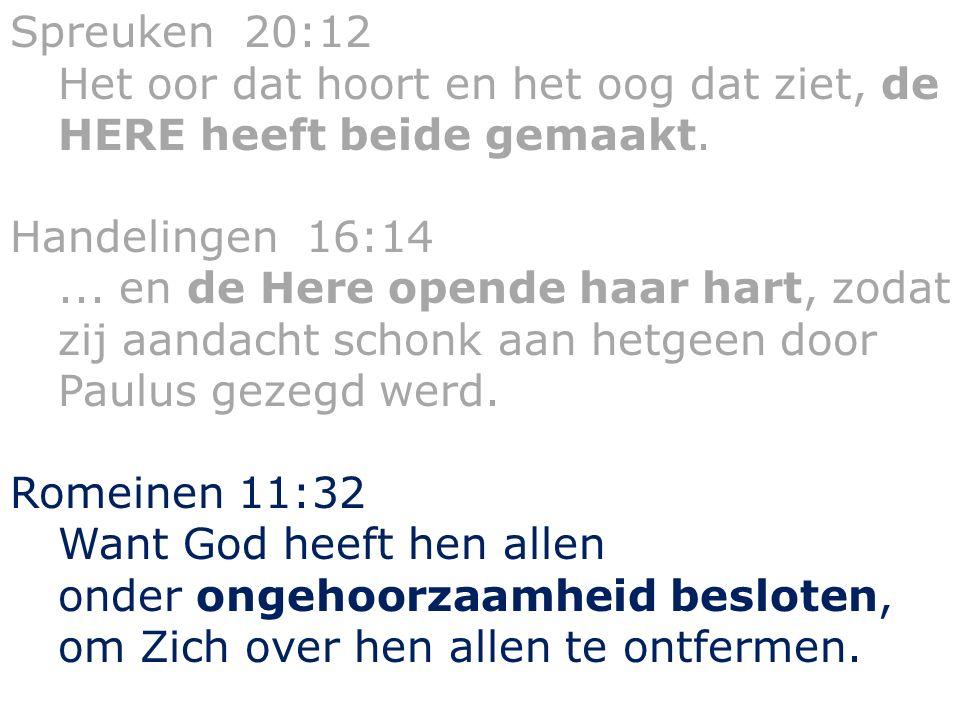 Spreuken 20:12 Het oor dat hoort en het oog dat ziet, de HERE heeft beide gemaakt. Handelingen 16:14... en de Here opende haar hart, zodat zij aandach