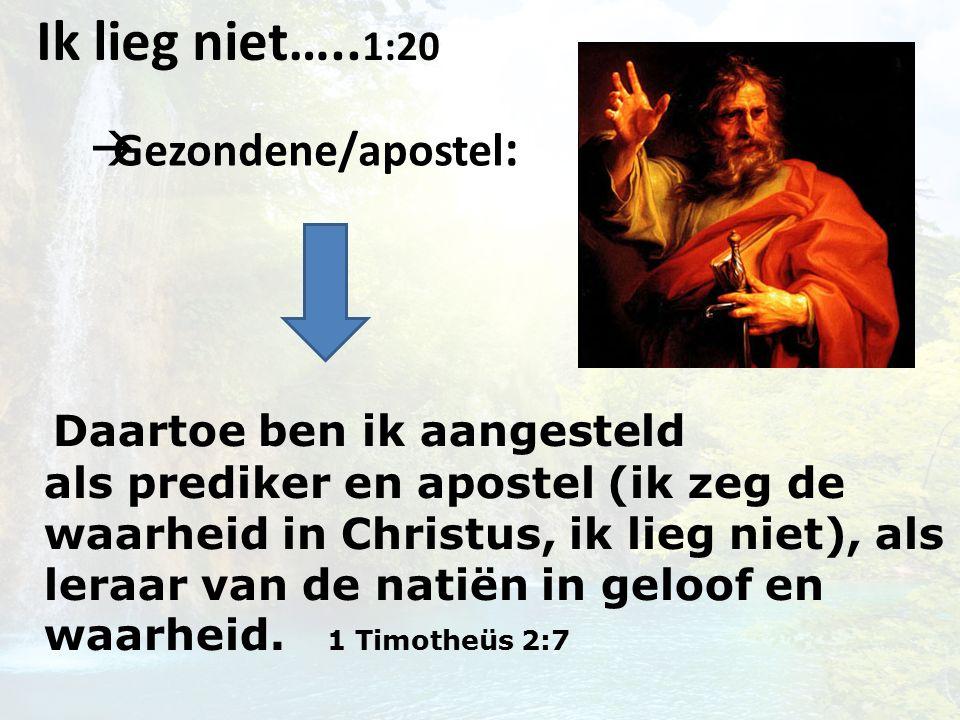  Gezondene/apostel : Ik lieg niet…..