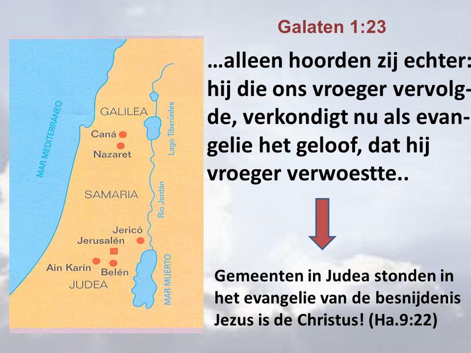 …alleen hoorden zij echter: hij die ons vroeger vervolg- de, verkondigt nu als evan- gelie het geloof, dat hij vroeger verwoestte..
