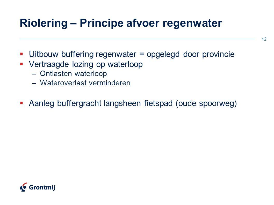 Riolering – Principe afvoer regenwater  Uitbouw buffering regenwater = opgelegd door provincie  Vertraagde lozing op waterloop –Ontlasten waterloop