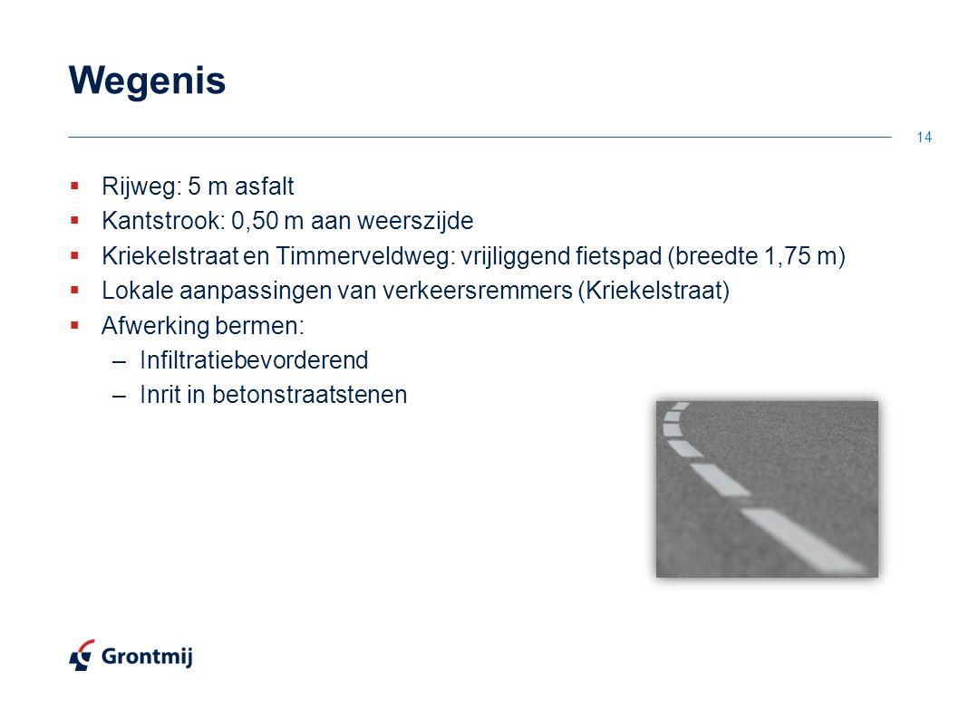 Wegenis  Rijweg: 5 m asfalt  Kantstrook: 0,50 m aan weerszijde  Kriekelstraat en Timmerveldweg: vrijliggend fietspad (breedte 1,75 m)  Lokale aanp