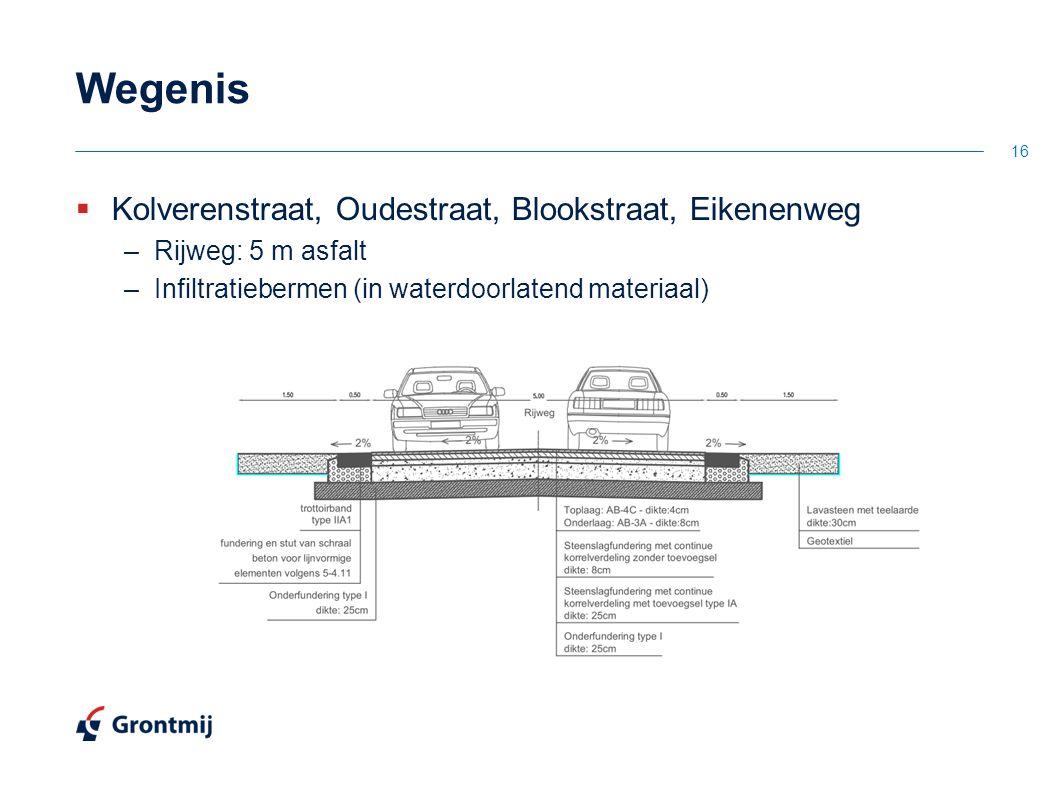 Wegenis  Kolverenstraat, Oudestraat, Blookstraat, Eikenenweg –Rijweg: 5 m asfalt –Infiltratiebermen (in waterdoorlatend materiaal) 16