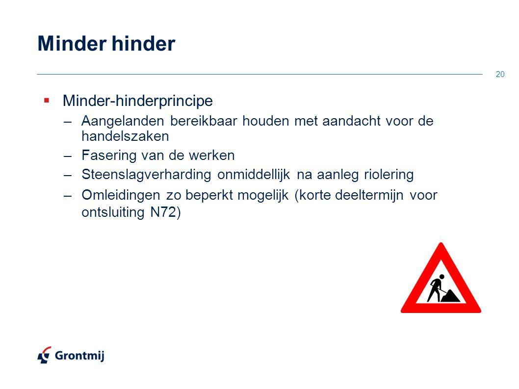 Minder hinder  Minder-hinderprincipe –Aangelanden bereikbaar houden met aandacht voor de handelszaken –Fasering van de werken –Steenslagverharding on