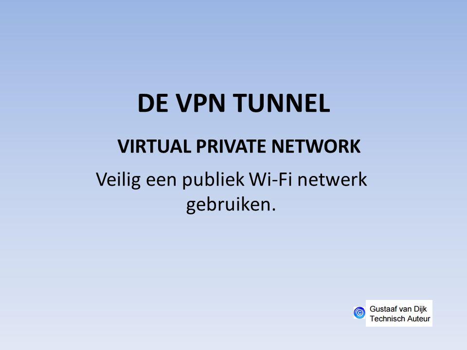 DE VPN TUNNEL Veilig een publiek Wi-Fi netwerk gebruiken. VIRTUAL PRIVATE NETWORK
