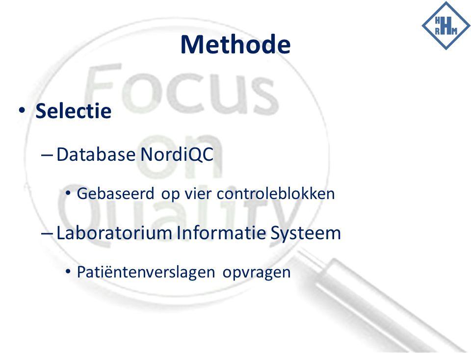 Methode Selectie – Database NordiQC Gebaseerd op vier controleblokken – Laboratorium Informatie Systeem Patiëntenverslagen opvragen