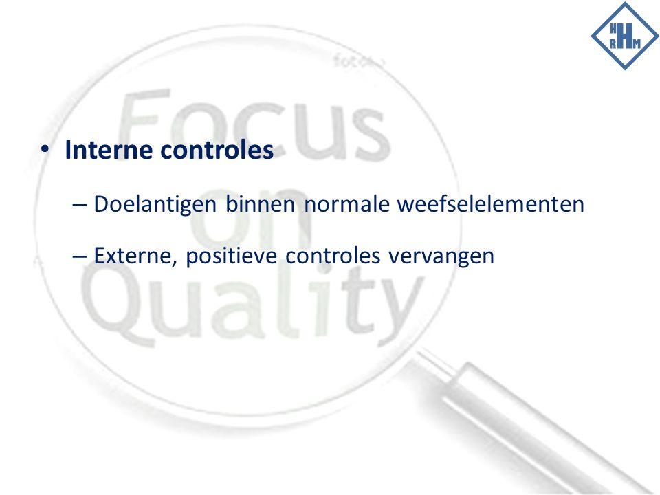 Interne controles – Doelantigen binnen normale weefselelementen – Externe, positieve controles vervangen