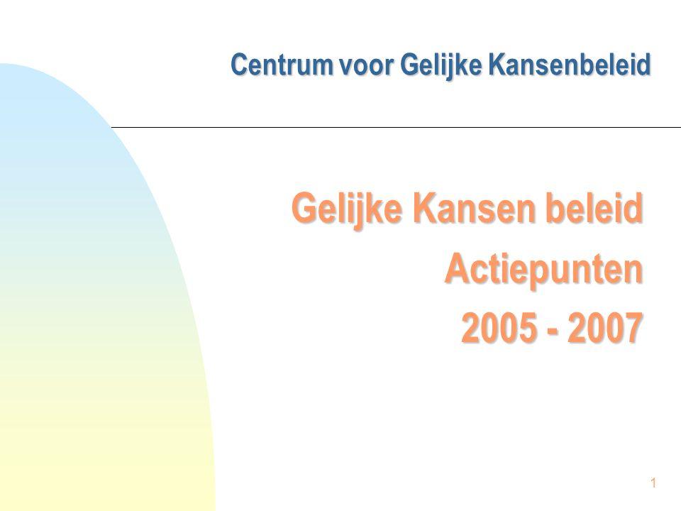 1 Centrum voor Gelijke Kansenbeleid Centrum voor Gelijke Kansenbeleid Gelijke Kansen beleid Actiepunten 2005 - 2007