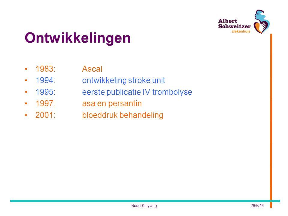 Ontwikkelingen 1983:Ascal 1994:ontwikkeling stroke unit 1995: eerste publicatie IV trombolyse 1997:asa en persantin 2001:bloeddruk behandeling 29/6/16Ruud Kleyweg