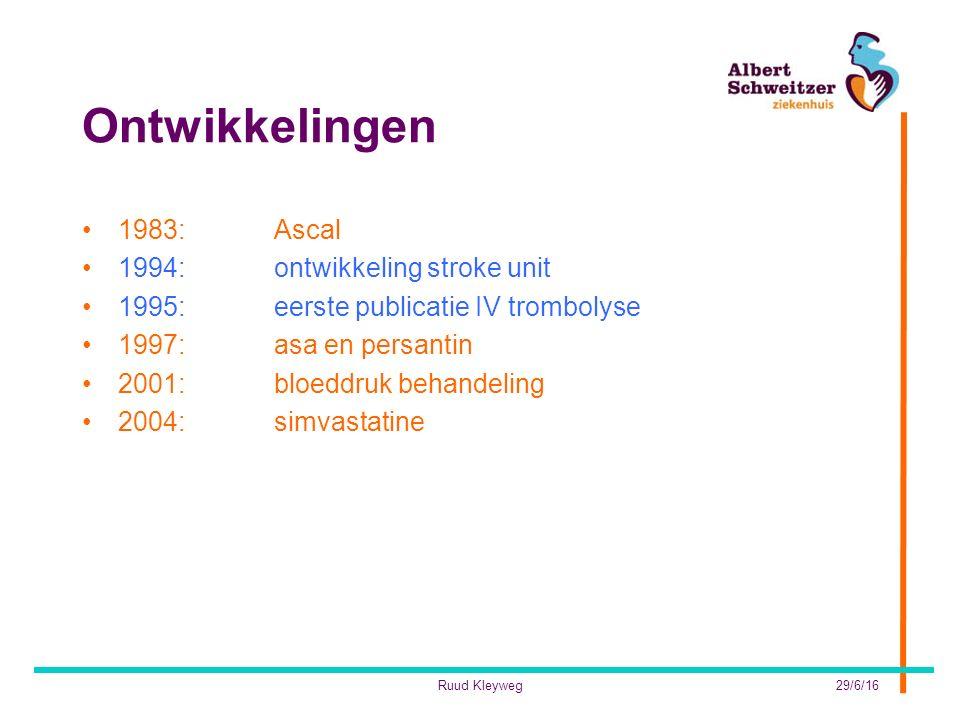 Ontwikkelingen 1983:Ascal 1994:ontwikkeling stroke unit 1995: eerste publicatie IV trombolyse 1997:asa en persantin 2001:bloeddruk behandeling 2004:simvastatine 29/6/16Ruud Kleyweg