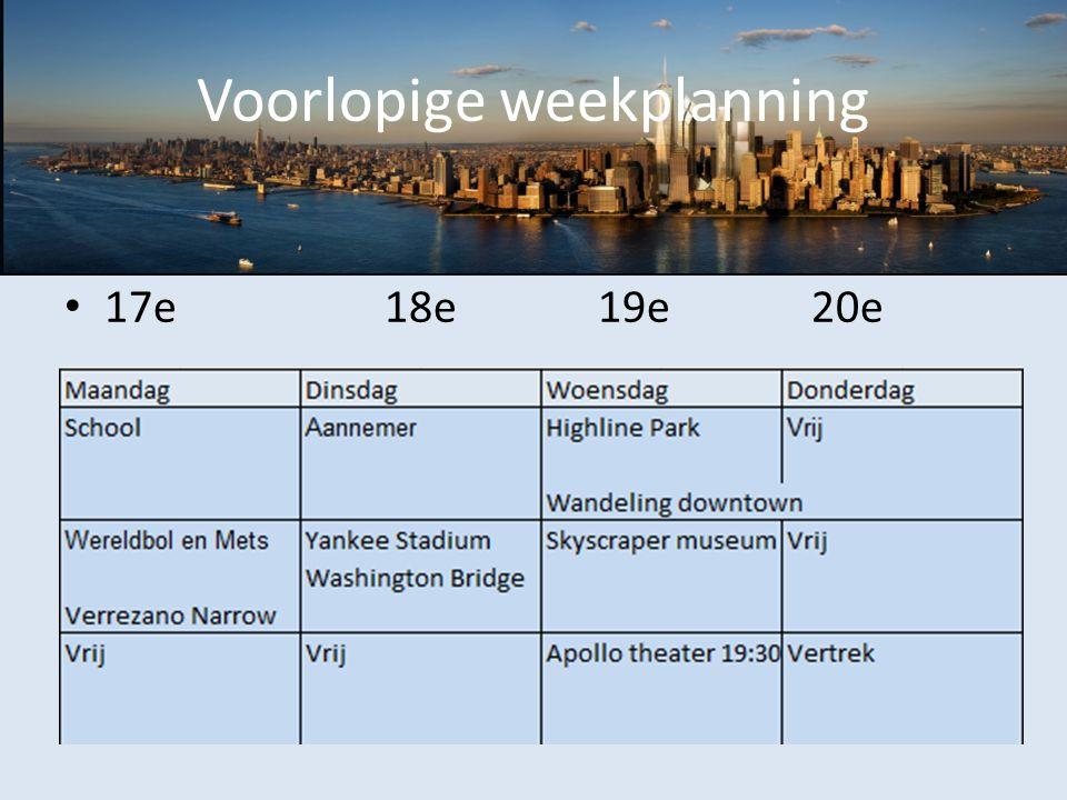 Voorlopige weekplanning 17e18e19e20e