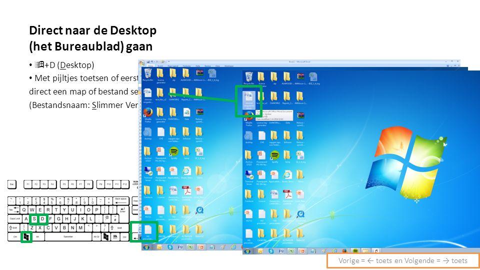 Direct naar de Desktop (het Bureaublad) gaan  +D (Desktop) Met pijltjes toetsen of eerste letter direct een map of bestand selecteren (Bestandsnaam: Slimmer Vergaderen) Vorige = ← toets en Volgende = → toets