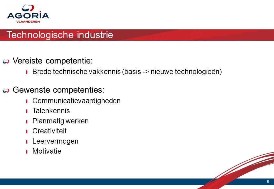 Technologische industrie 9 Vereiste competentie: ❙ Brede technische vakkennis (basis -> nieuwe technologieën) Gewenste competenties: ❙ Communicatievaardigheden ❙ Talenkennis ❙ Planmatig werken ❙ Creativiteit ❙ Leervermogen ❙ Motivatie
