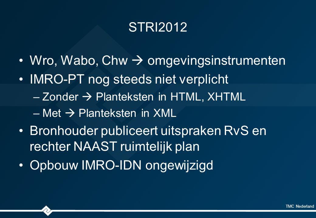 TMC Nederland STRI2012 Wro, Wabo, Chw  omgevingsinstrumenten IMRO-PT nog steeds niet verplicht –Zonder  Planteksten in HTML, XHTML –Met  Planteksten in XML Bronhouder publiceert uitspraken RvS en rechter NAAST ruimtelijk plan Opbouw IMRO-IDN ongewijzigd