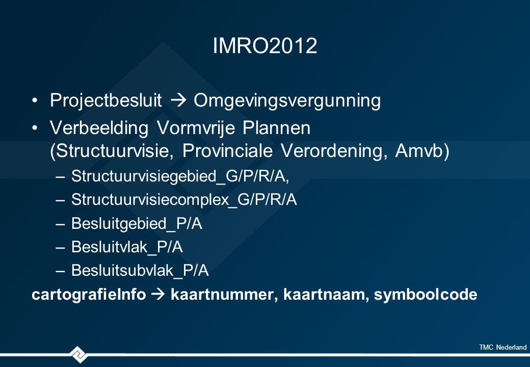 TMC Nederland IMRO2012 Projectbesluit  Omgevingsvergunning Verbeelding Vormvrije Plannen (Structuurvisie, Provinciale Verordening, Amvb) –Structuurvisiegebied_G/P/R/A, –Structuurvisiecomplex_G/P/R/A –Besluitgebied_P/A –Besluitvlak_P/A –Besluitsubvlak_P/A cartografieInfo  kaartnummer, kaartnaam, symboolcode