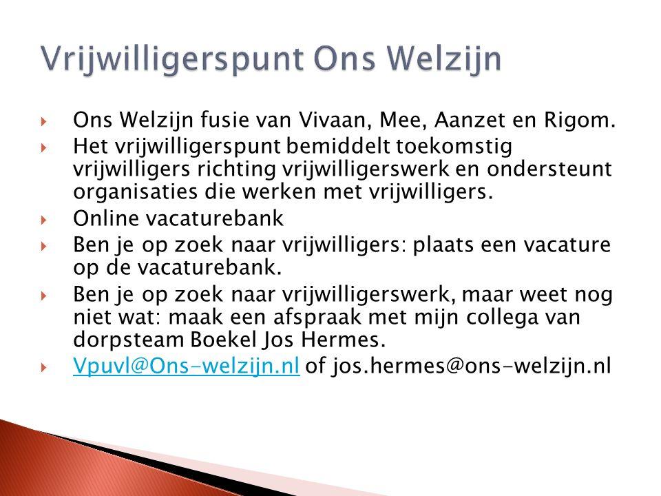  Ons Welzijn fusie van Vivaan, Mee, Aanzet en Rigom.