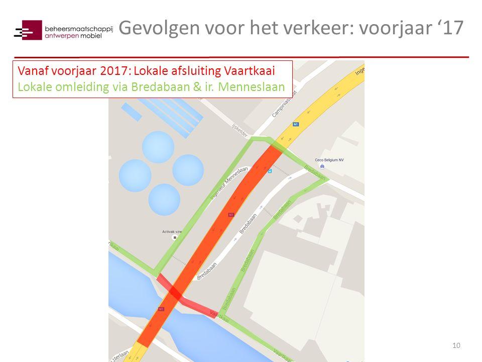 Gevolgen voor het verkeer: voorjaar '17 10 Vanaf voorjaar 2017: Lokale afsluiting Vaartkaai Lokale omleiding via Bredabaan & ir. Menneslaan