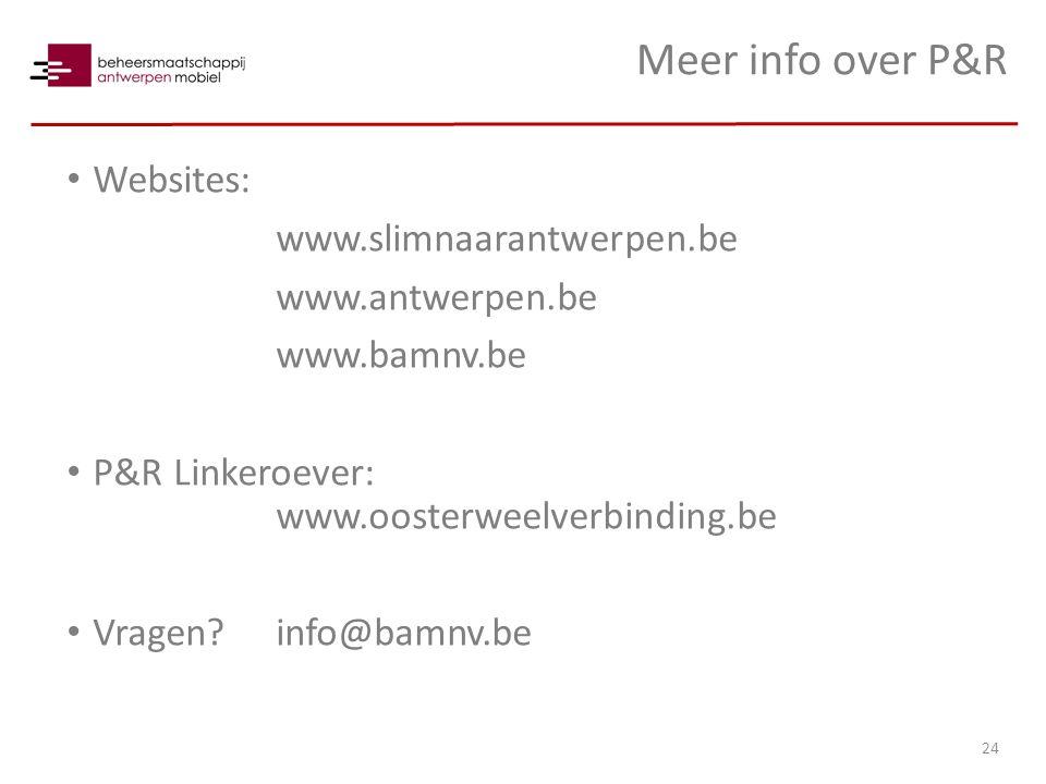 Meer info over P&R Websites: www.slimnaarantwerpen.be www.antwerpen.be www.bamnv.be P&R Linkeroever: www.oosterweelverbinding.be Vragen info@bamnv.be 24