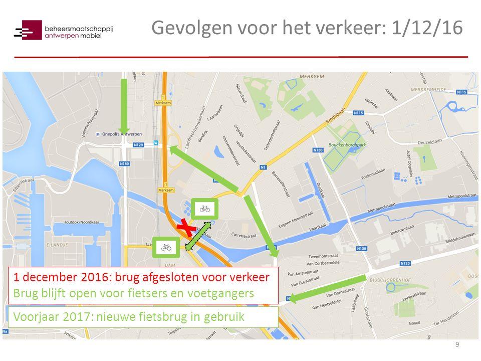 Gevolgen voor het verkeer: 1/12/16 9 1 december 2016: brug afgesloten voor verkeer Brug blijft open voor fietsers en voetgangers Voorjaar 2017: nieuwe