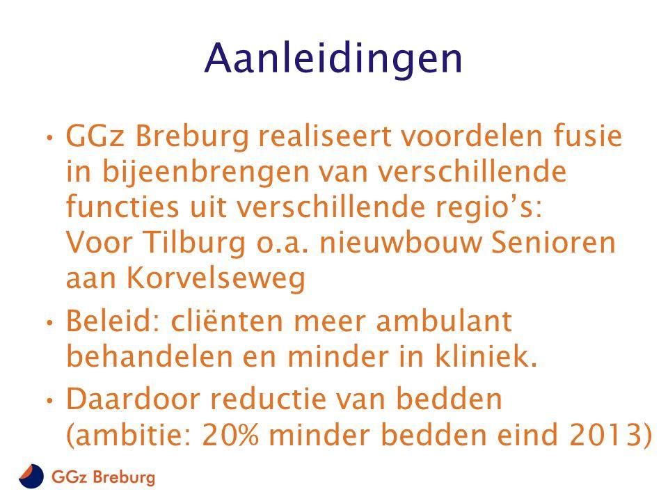 Aanleidingen GGz Breburg realiseert voordelen fusie in bijeenbrengen van verschillende functies uit verschillende regio's: Voor Tilburg o.a.