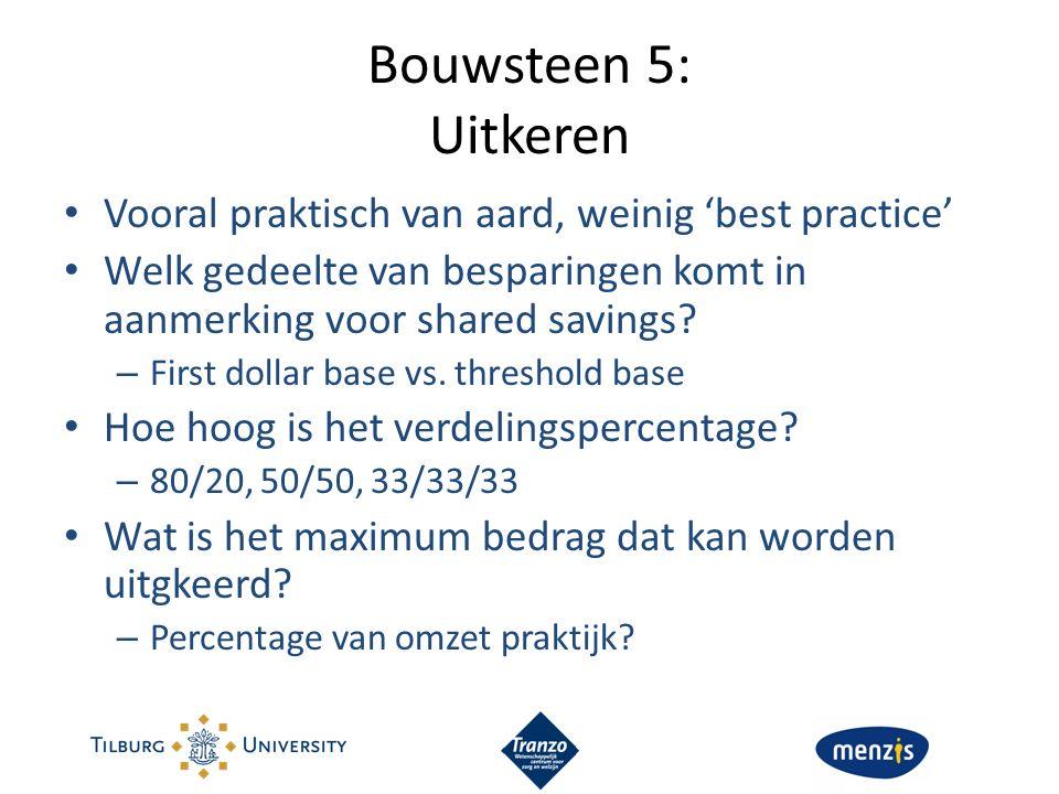 Bouwsteen 5: Uitkeren Vooral praktisch van aard, weinig 'best practice' Welk gedeelte van besparingen komt in aanmerking voor shared savings? – First