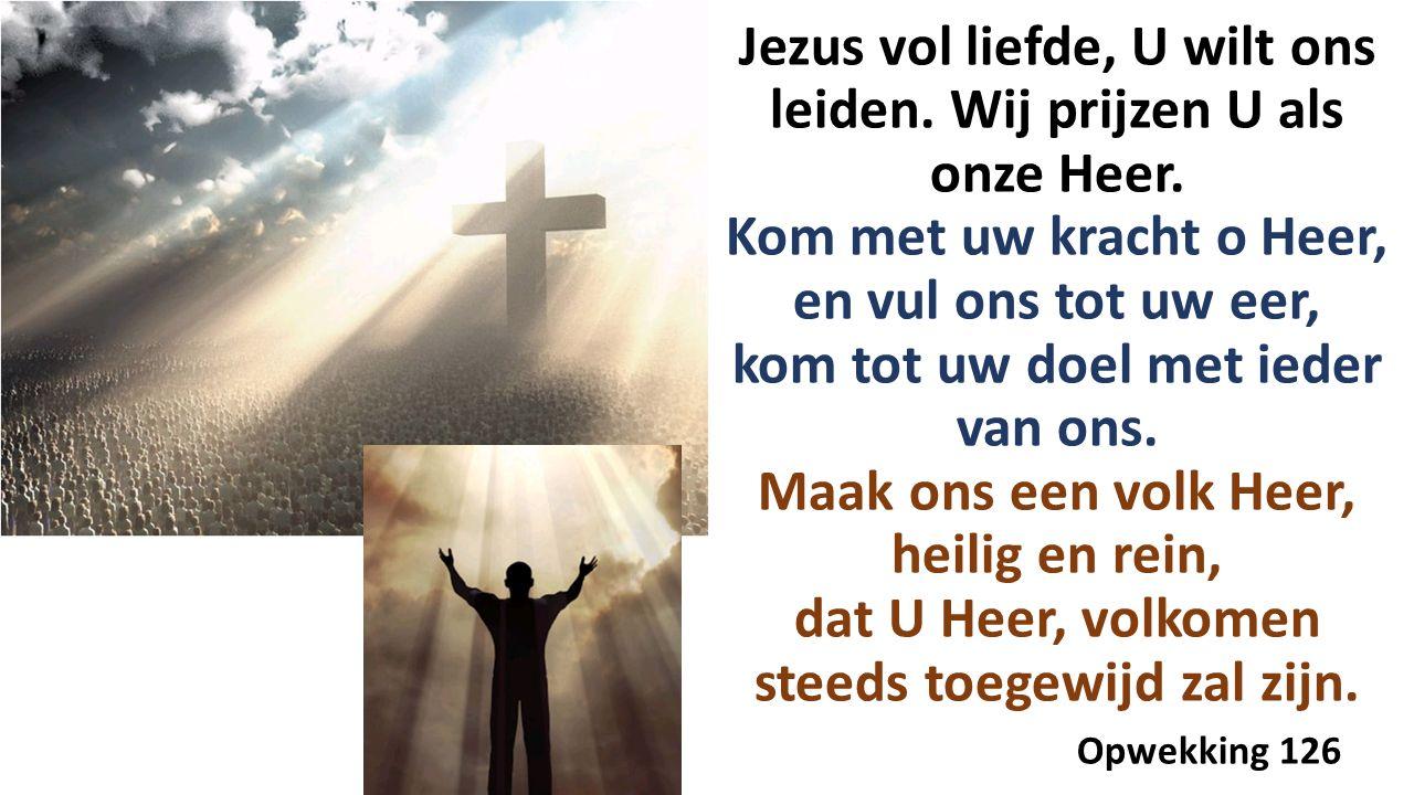 Jezus vol liefde, U wilt ons leiden. Wij prijzen U als onze Heer.