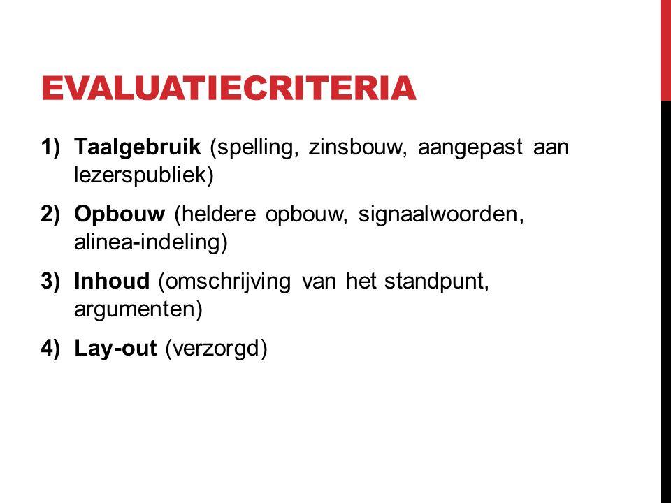 EVALUATIECRITERIA 1)Taalgebruik (spelling, zinsbouw, aangepast aan lezerspubliek) 2)Opbouw (heldere opbouw, signaalwoorden, alinea-indeling) 3)Inhoud
