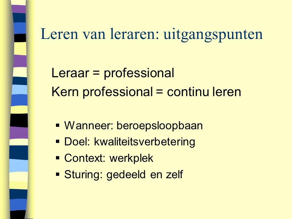 Leren van leraren: uitgangspunten n Leraar = professional n Kern professional = continu leren  Wanneer: beroepsloopbaan  Doel: kwaliteitsverbetering  Context: werkplek  Sturing: gedeeld en zelf