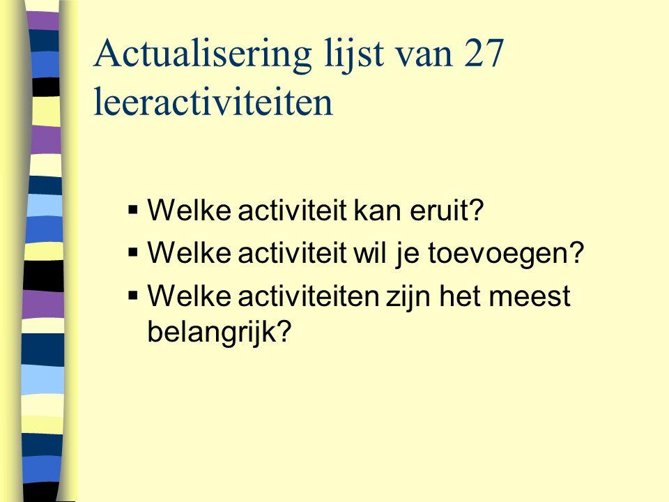 Actualisering lijst van 27 leeractiviteiten  Welke activiteit kan eruit.