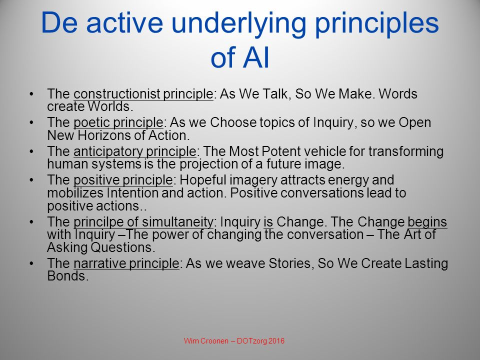 De active underlying principles of AI The constructionist principle: As We Talk, So We Make.