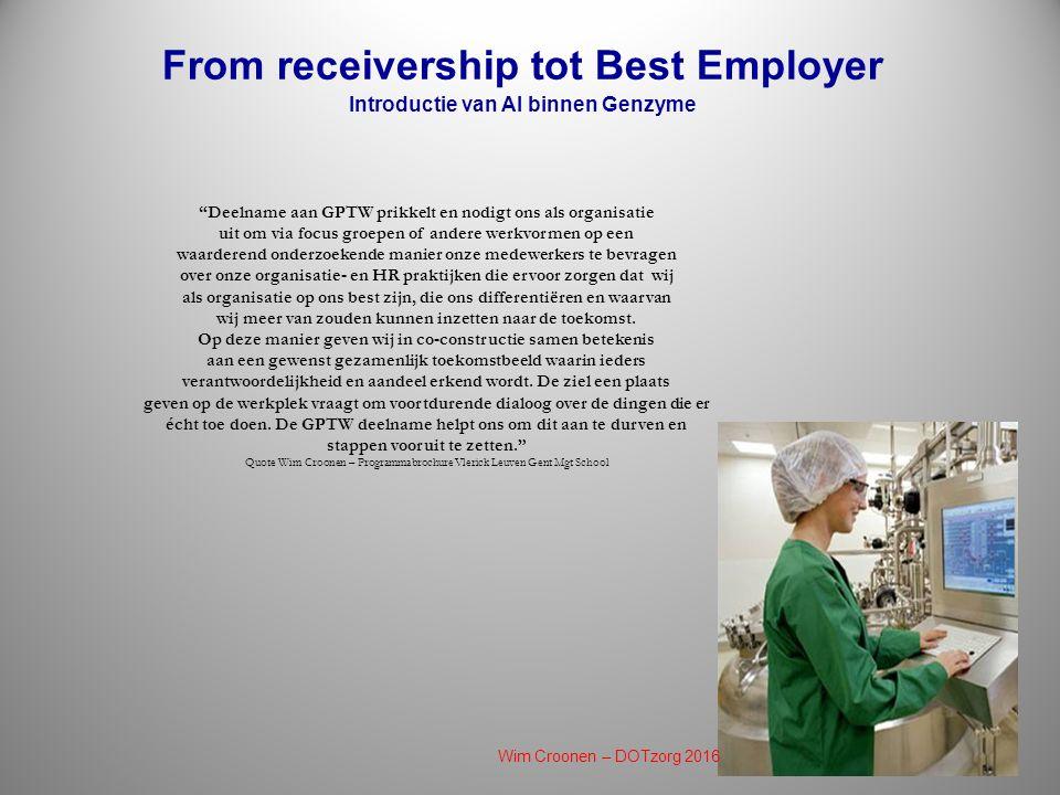 From receivership tot Best Employer Introductie van AI binnen Genzyme Deelname aan GPTW prikkelt en nodigt ons als organisatie uit om via focus groepen of andere werkvormen op een waarderend onderzoekende manier onze medewerkers te bevragen over onze organisatie- en HR praktijken die ervoor zorgen dat wij als organisatie op ons best zijn, die ons differentiëren en waarvan wij meer van zouden kunnen inzetten naar de toekomst.