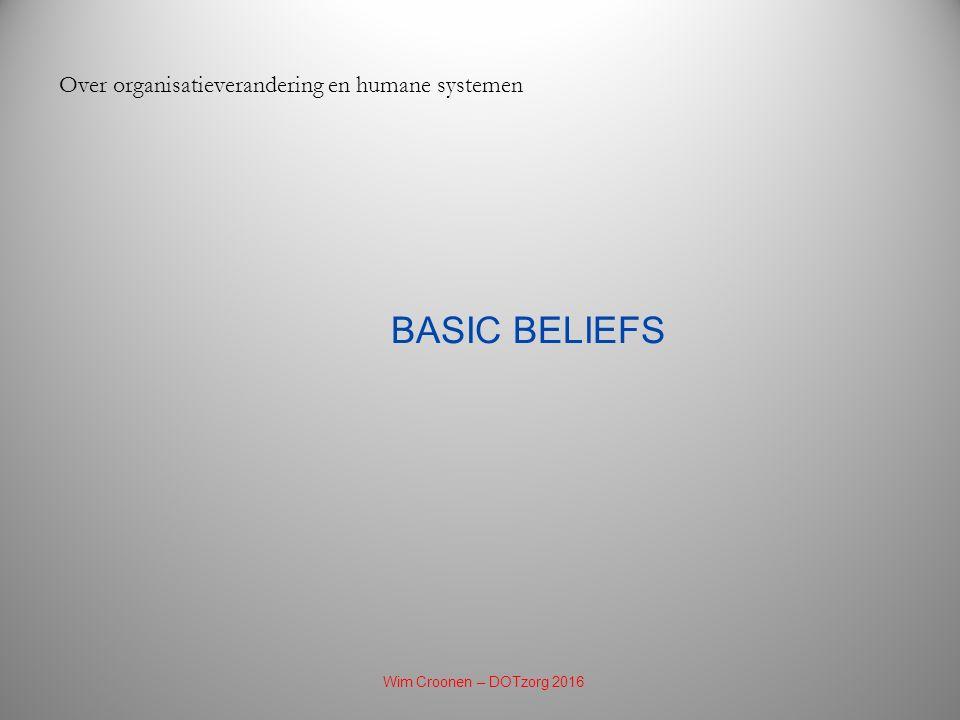 BASIC BELIEFS Over organisatieverandering en humane systemen Wim Croonen – DOTzorg 2016