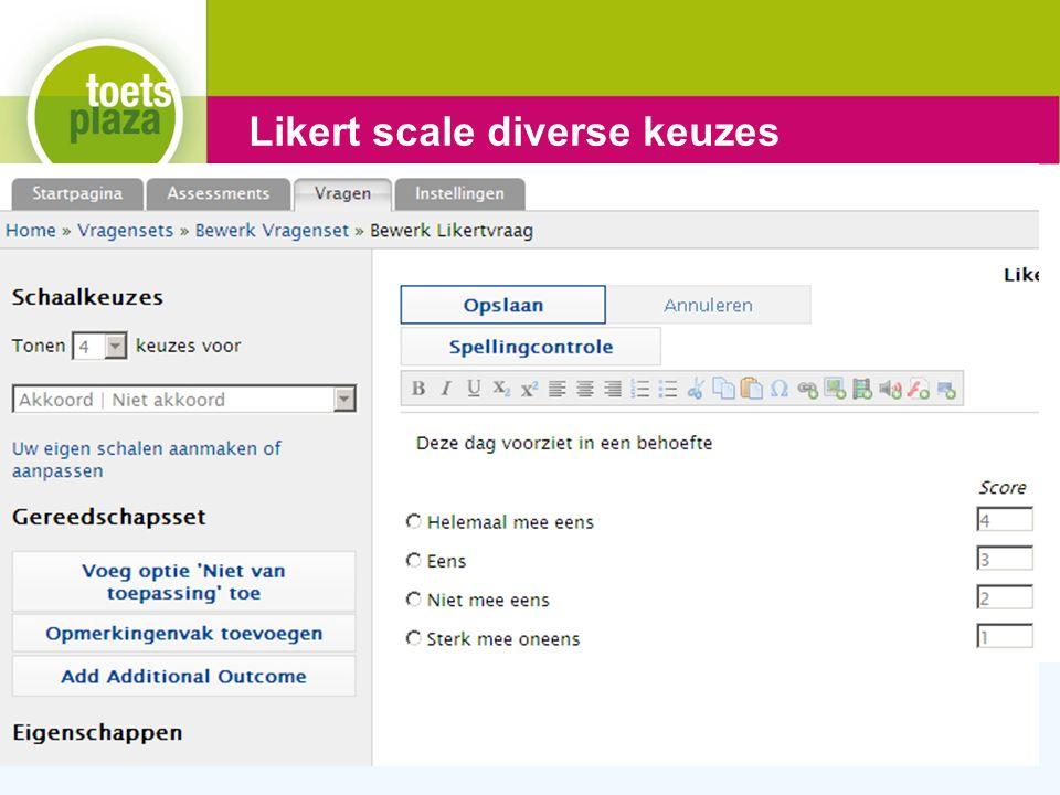 Expertiseteam Toetsenbank Likert scale diverse keuzes