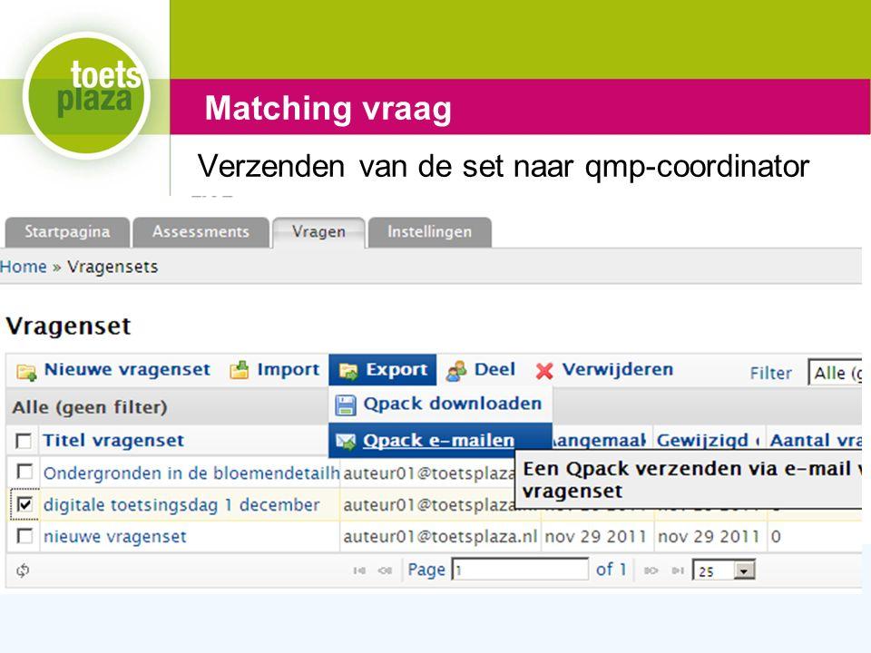 Expertiseteam Toetsenbank Verzenden van de set naar qmp-coordinator Matching vraag