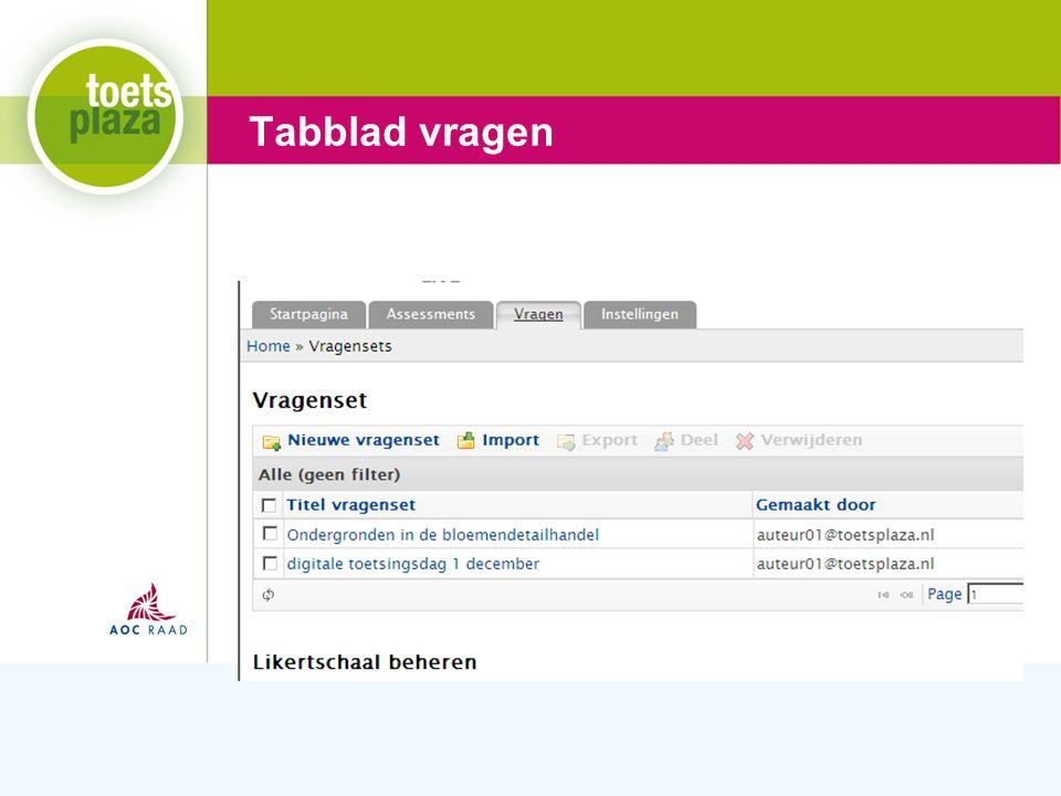 Expertiseteam Toetsenbank Tabblad vragen