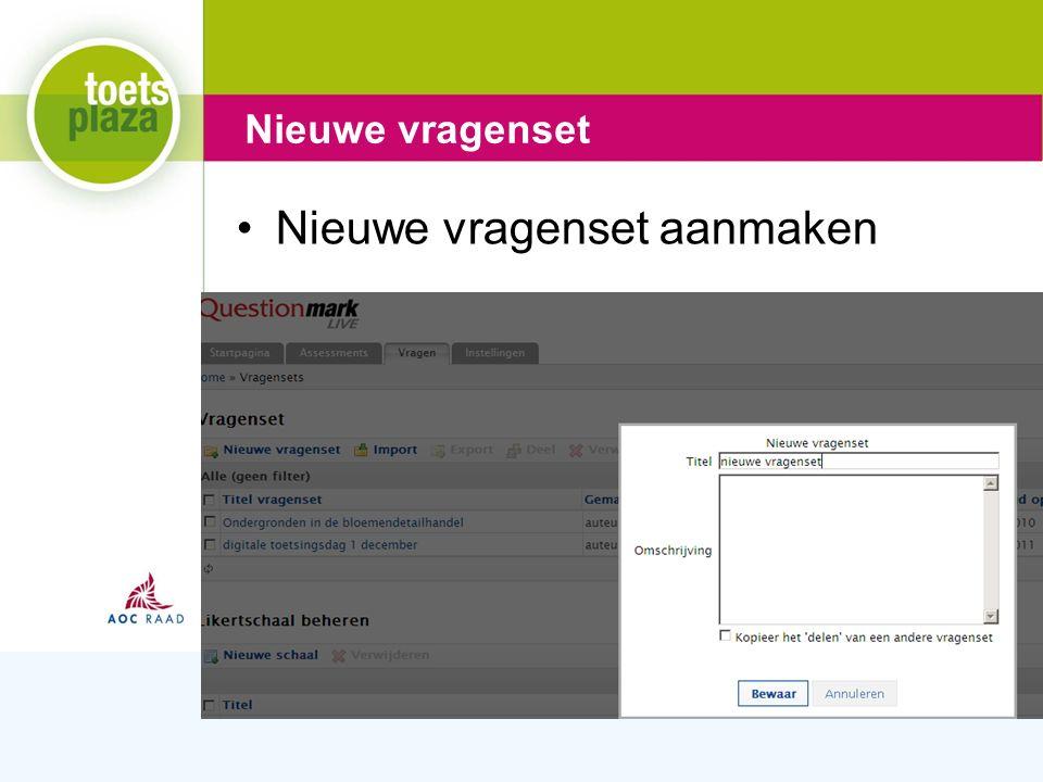 Expertiseteam Toetsenbank Nieuwe vragenset aanmaken Nieuwe vragenset