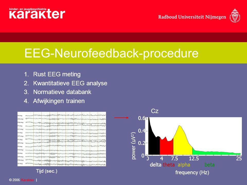 © 2006 Karakter   Onderzoeksproject-inclusie ADHD sample Diagnose ADHD Leeftijd 8 -15 (eerst tot 12 jaar) IQ  80 Psychofarmaca- naïef of –vrij, of gebruik van stabiele dosering psychostimulantia/atomoxetine Een afwijkend EEG