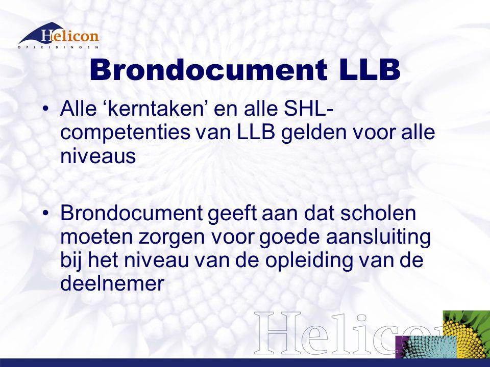 Brondocument LLB Alle 'kerntaken' en alle SHL- competenties van LLB gelden voor alle niveaus Brondocument geeft aan dat scholen moeten zorgen voor goede aansluiting bij het niveau van de opleiding van de deelnemer