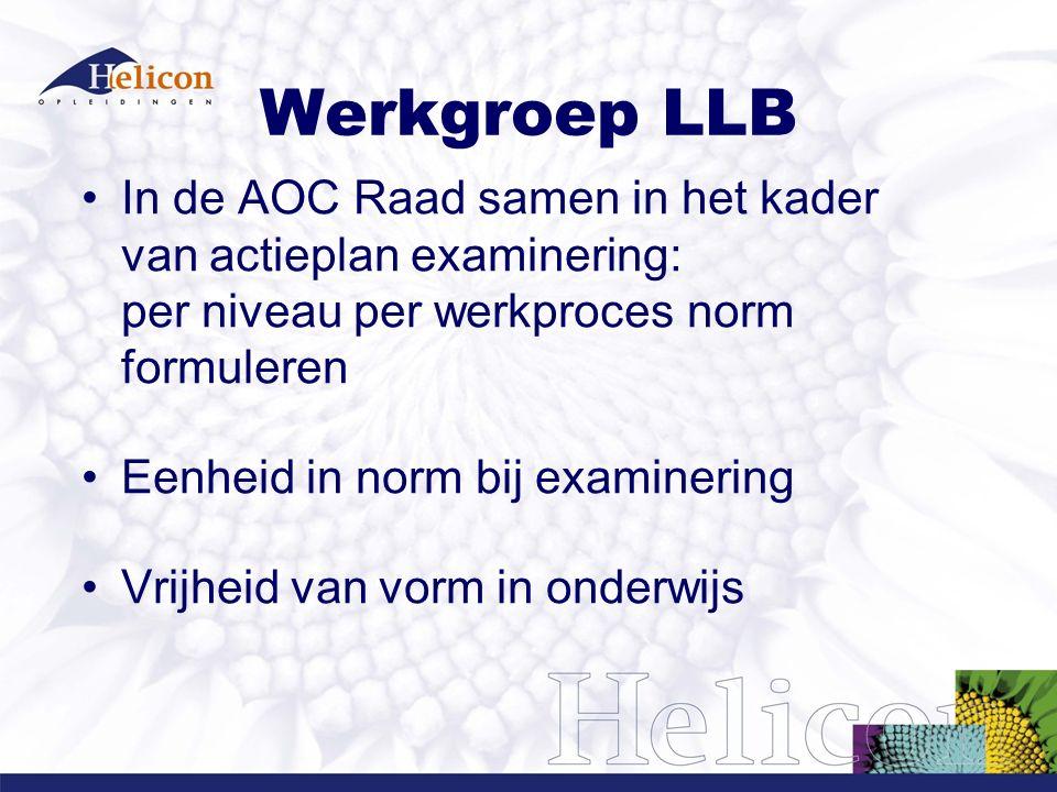Werkgroep LLB In de AOC Raad samen in het kader van actieplan examinering: per niveau per werkproces norm formuleren Eenheid in norm bij examinering Vrijheid van vorm in onderwijs