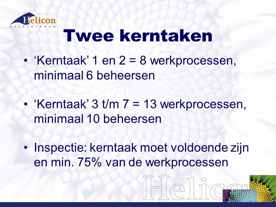 Twee kerntaken 'Kerntaak' 1 en 2 = 8 werkprocessen, minimaal 6 beheersen 'Kerntaak' 3 t/m 7 = 13 werkprocessen, minimaal 10 beheersen Inspectie: kernt