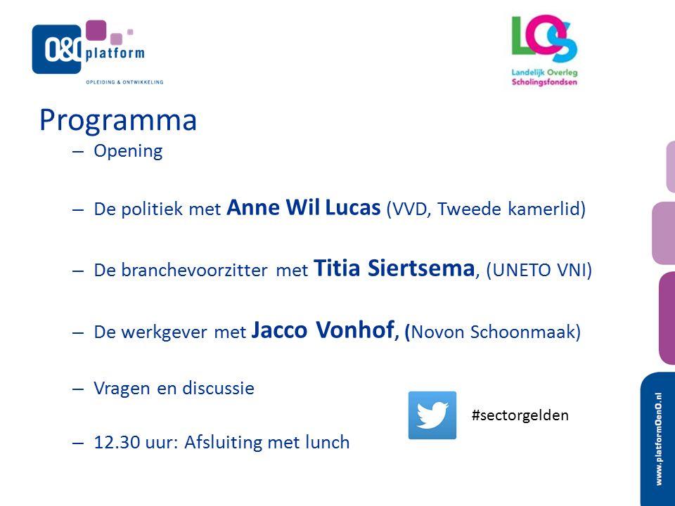 Programma – Opening – De politiek met Anne Wil Lucas (VVD, Tweede kamerlid) – De branchevoorzitter met Titia Siertsema, (UNETO VNI) – De werkgever met Jacco Vonhof, (Novon Schoonmaak) – Vragen en discussie – 12.30 uur: Afsluiting met lunch #sectorgelden